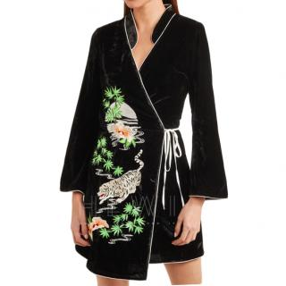 Rixo Iris embroidered velvet wrap dress