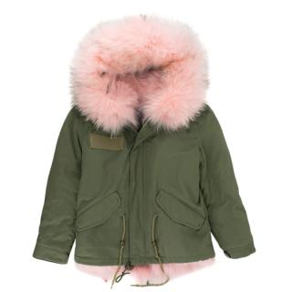 Mr & Mrs Italy Girl's Pink Alpaca Lined Parka