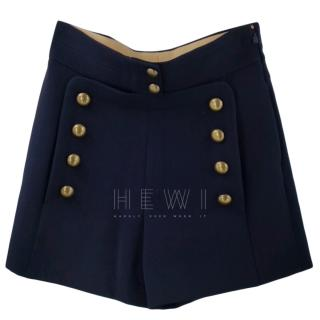 Chloe High-Waisted Shorts W/ Military Buttons