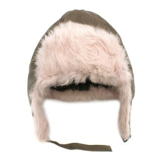 Yves Salomon Enfant Cotton Garbadine Hat W/ Rabbit Fur