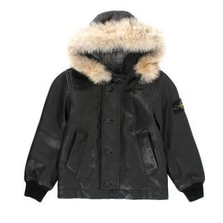 Stone Island Junior Leather Jacket