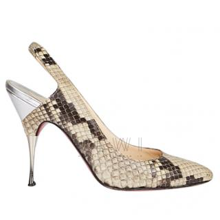 Christian Louboutin Python Slingback Sandals