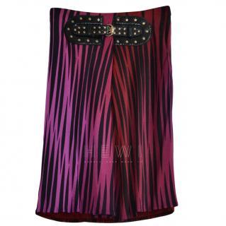 Gucci Printed Skirt W/ Snake Skin Belt