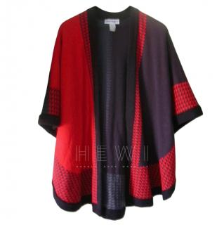 Pierre Cardin Printed Check Wool Blend Cape