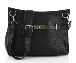 Hermes Noir Clemence Leather Jypsiere 37 Bag