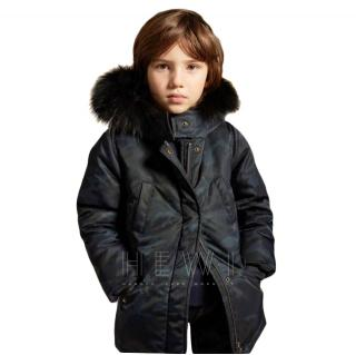 Yves Salomon Enfant Camouflage Parka with Fur Hood