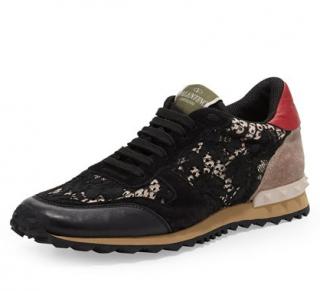 Valentino Black Lace Rockstud Sneakers
