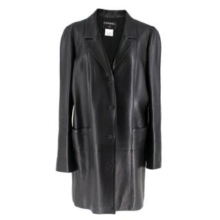 Chanel Black Longline Lambskin Leather Jacket W/ Embellished Buttons
