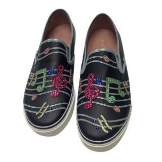 Red Valentino Music Note Embellished Slip-On Shoes