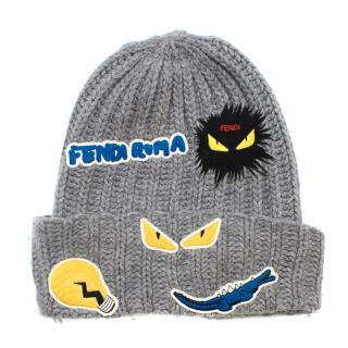 Fendi Kid's Grey Cable Knit Patch Beanie
