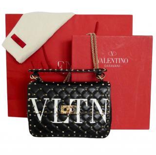 Valentino Black Rockstud Spike black leather bag.