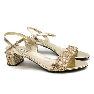 Miu Miu Gold Glitter Low Heeled Sandals