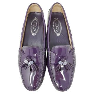 Tod's Patent Purple Leather Tassel Loafers
