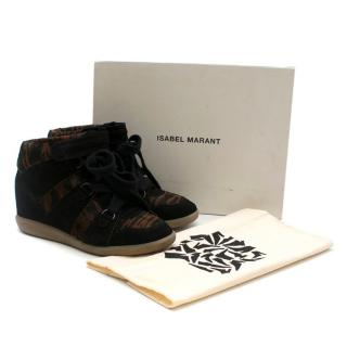 Isabel Marant Pony Over Basket Blossom Wedge Sneakers