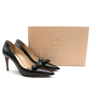 Prada Black Patent Bow Detail Pointed Toe Pumps
