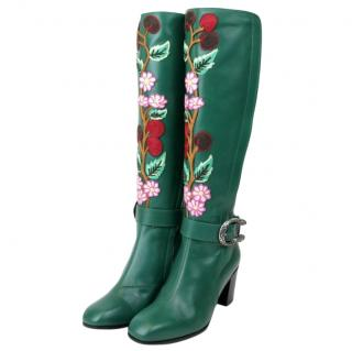 Gucci Green Floral Elizabeth Tall Boots