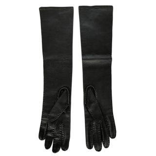 Marni Black Leather Opera Gloves