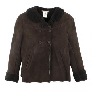 Bonpoint Girls 6 Years Brown Sheepskin Coat