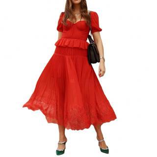 Self-Portrait Short Lace-Trimmed Pleated Chiffon Midi Dress