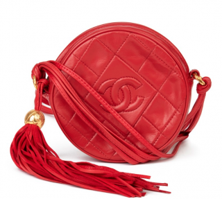 Chanel Vintage Leather Red Round Fringed Pochette