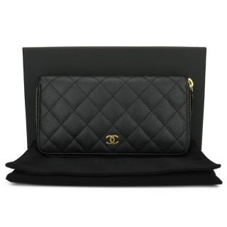 Chanel black Caviar long zipped classic wallet