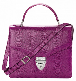 Aspinal of London Deep Purple Lizard Embossed Leather Mayfair Bag