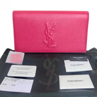 Saint Laurent Fuchsia Large Belle De Jour Chevrette Clutch