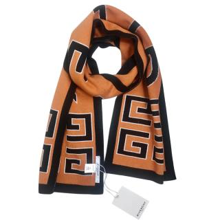 Givenchy Orange & Black Logo Scarf