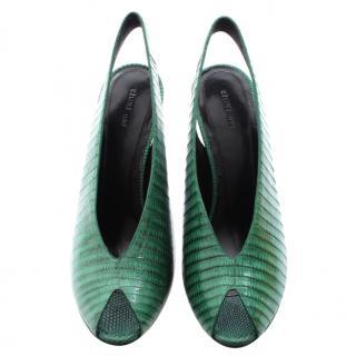 Celine Green Lizard Leather Wedge Sandals