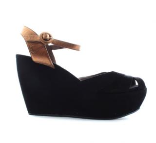 Marni suede platform wedge sandals
