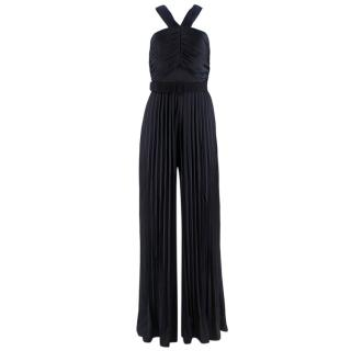 Self-Portrait Navy Halter Neck Pleated Jumpsuit