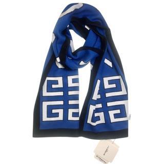 Givenchy Black & Blue Logo Scarf