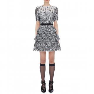 Self-Portrait White Daisy Sequin Mesh Mini Dress