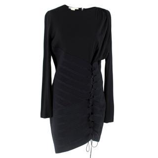 Antonio Berardi Black Draped Lace-Up Asymmetric Dress