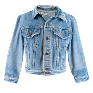 Re/Done Distressed Cropped Denim Jacket
