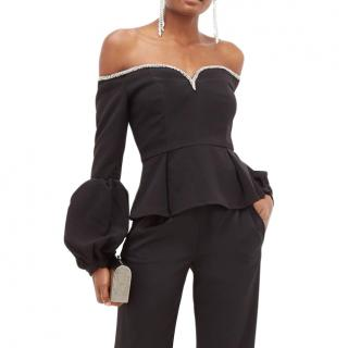 Self-Portrait Crystal-embellished off-the-shoulder crepe top