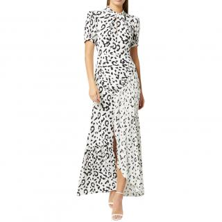 Self-Portrait Leopard Print Crepe Maxi Dress