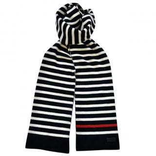 Saint Laurent striped knit wool scarf