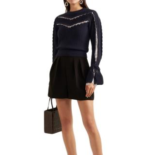 Self-Portrait Navy Lace-trimmed Ruffled Knit Sweater