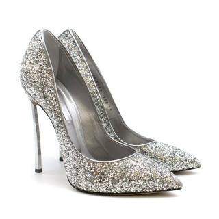 Casadei Blade Pumps in Silver Glitter