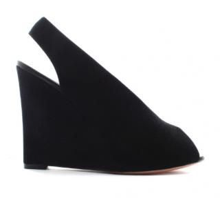 Celine Black Suede Wedge Slingback Sandals