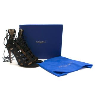 Aquazzura Black Amazon Suede Lace Up Heeled Sandals