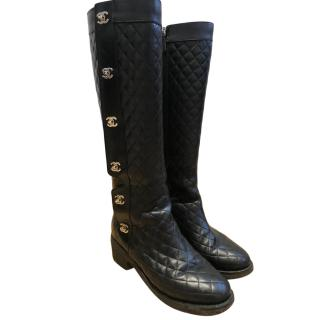 Chanel Turn Lock Quilted Long Boots