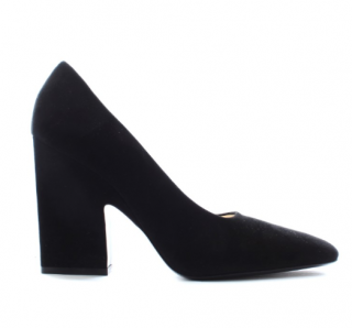 Celine black suede square toe pumps