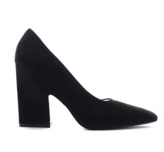 Celine black suede square toe pumps