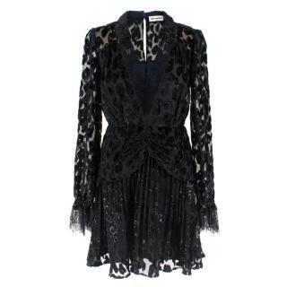 Self-Portrait Black V-neckline Metallic Leopard Dress