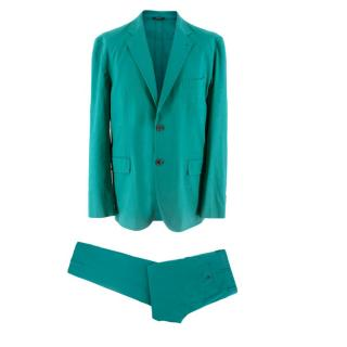 Hermes Aqua Linen Tailored Suit