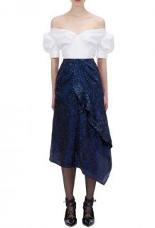 Self-Portrait Blue Check Sequin Midi Skirt