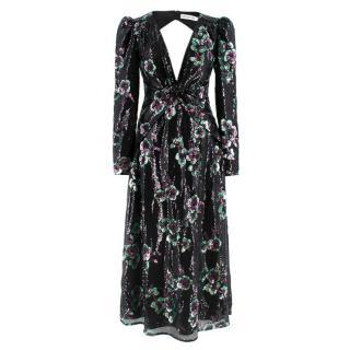 Self-Portrait Twist Front Key-Hole Sequin Dress