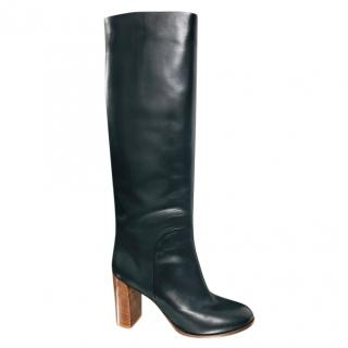 Celine Black Leather Long Heeled Boots